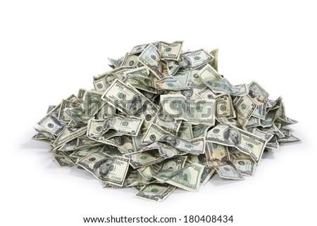 Pile of US money - stock photo