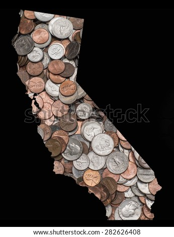 Pile of US United States Coins Quarters Dimes Nickels Penny in the shape of the state of California - stock photo