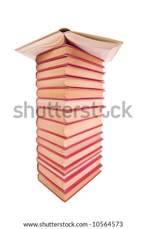 Pile of used books on a white background - stock photo