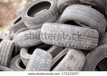 Pile of used rubber tires