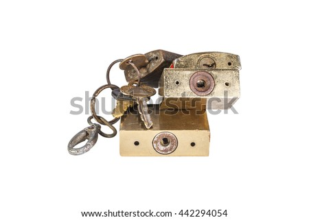 Pile of various Golden rusted Padlock And Key Isolated On White Background, Closeup