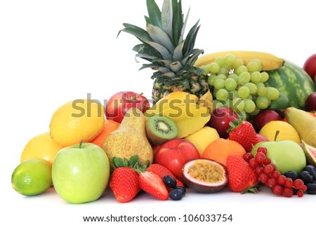 Pile of various ripe fruits. All on white background. - stock photo