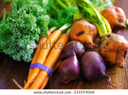 pile of veggies with carrots, beets and kale - stock photo