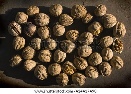 pile of walnuts - stock photo