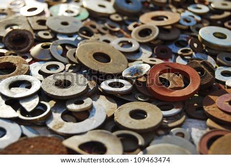 Pile of washers close-up - stock photo