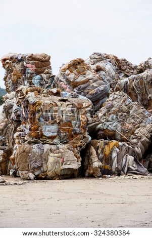 Pile of waste and trash for recycling or safe disposal, Great for recycle and environmental themes. - stock photo
