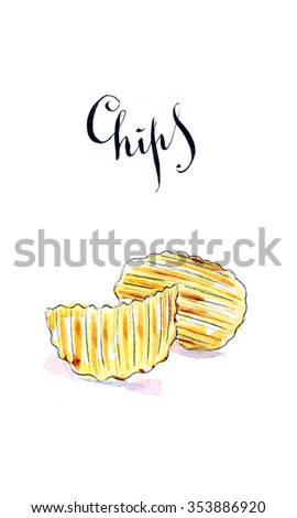 Pile of wavy potato chips salted snack, hand drawn, watercolor - Illustration