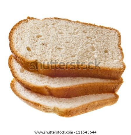 pile of wheat bread  isolated on a white background - stock photo