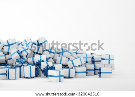 Pile of white and blue christmas presents isolated on white background. Concept image for christmas (x-mas) or weddings. 3d Rendering. - stock photo