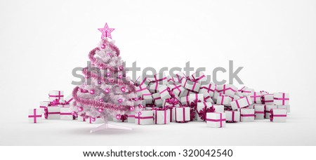 Pile of white and pink christmas presents and christmas tree isolated on white background. Concept image for christmas (x-mas) or weddings. 3d Rendering. - stock photo