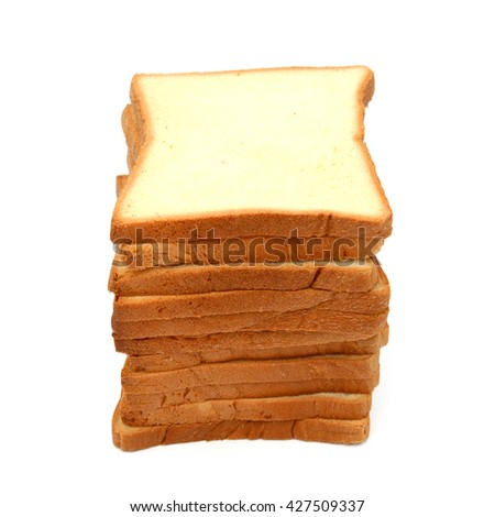 pile of white bread slices isolated on white