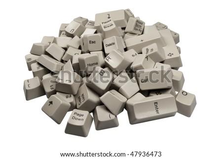 Pile of white Computer Keyboard keys isolated on white background - stock photo