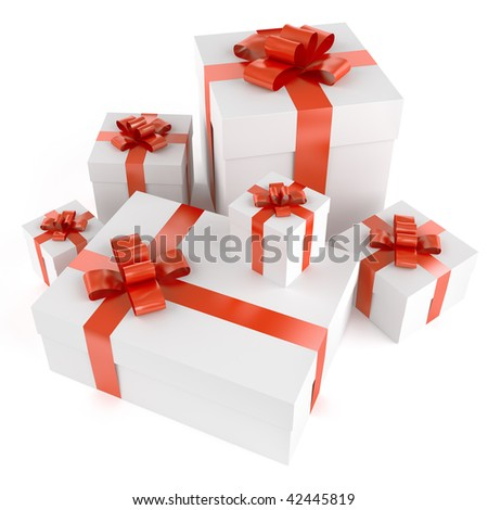 Pile of white gifts with red ribbons isolated on white and with clipping path - stock photo