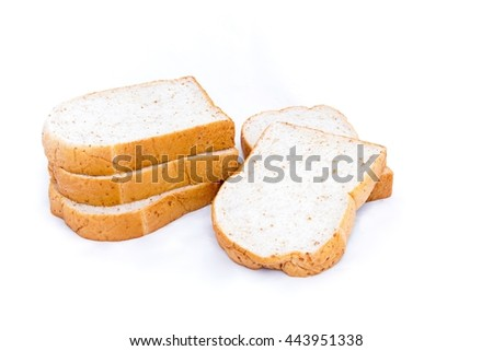 pile of whole grain bread slice isolated on white background - breakfast on every morning.  - stock photo