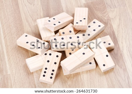Pile of wood domino  - stock photo