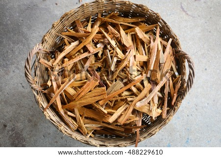 pile of wood in the basket