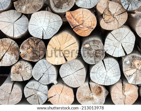 Pile of wood logs for background - stock photo