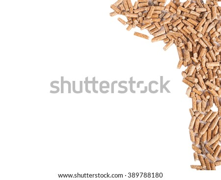 Pile of wood pellets disposed on right side of a picture isolated on white - stock photo