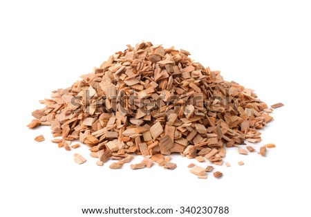 Pile of wood smoking chips isolated on white - stock photo