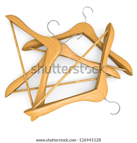 Pile of wooden hangers on white background. 3d illustration.