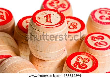 pile of wooden kegs for bingo closeup - stock photo