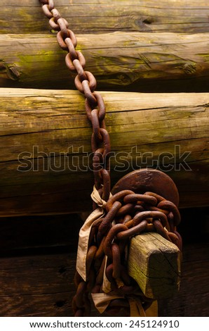 Pile of wooden trunks secured with an old rusty link chain - stock photo