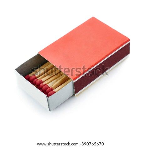 Pile of Wooden unused matches in box isolated over the white background - stock photo