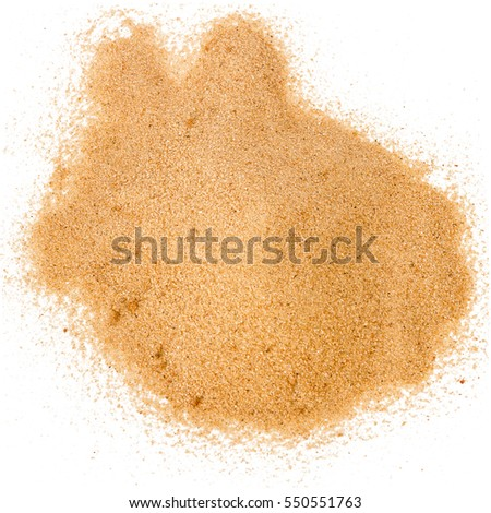 Pile of yellow sand isolated on white background