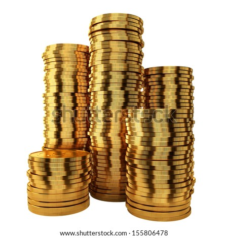Pile out of golden coins isolated on white background - stock photo