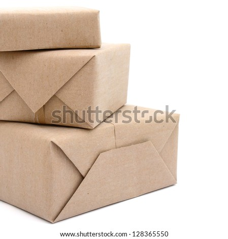 pile parcel wrapped with brown kraft paper, on stacking - stock photo
