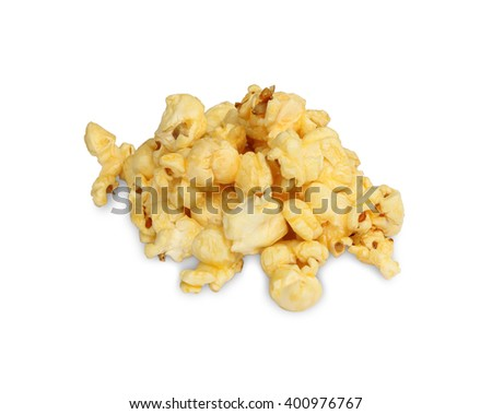Pile popcorn isolated on white background