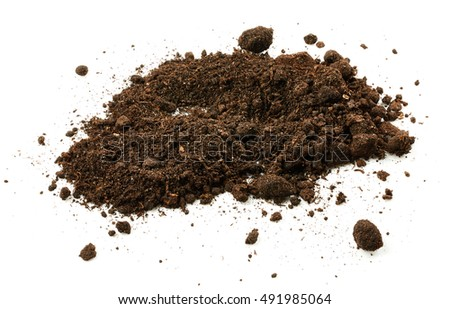 Pile soil isolated on white background