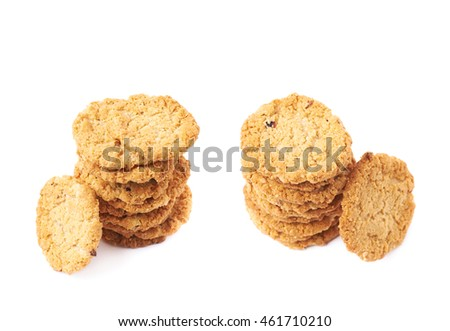 Pile stack of oatmeal cookies isolated over the white background, set of two different foreshortenings