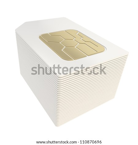 Pile stack of phone SIM cards with golden circuit microchips isolated on white