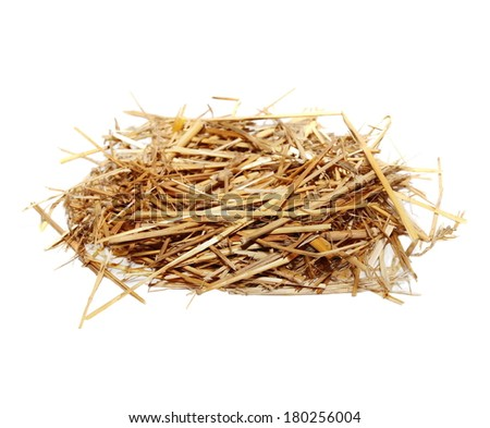 pile straw isolated on white background - stock photo