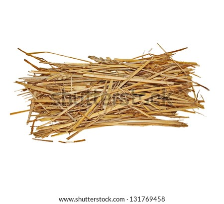 pile straw isolated on white background, (with clipping path) - stock photo