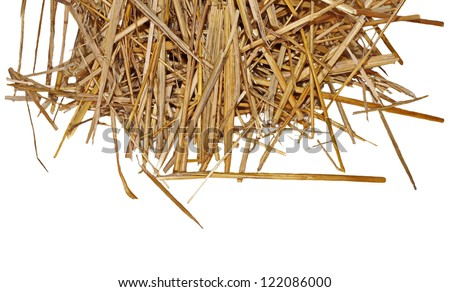 pile straw isolated on white, (with clipping path) - stock photo