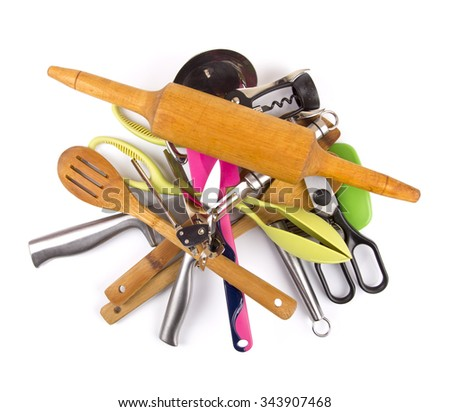 pile with kitchen utensils on a white background - stock photo