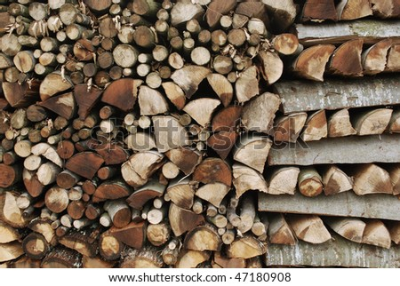 piled firewood texture - stock photo