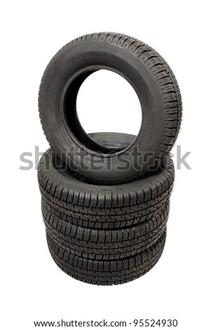 piled tires isolated on white background