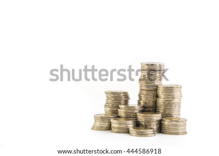 piles coin on white background - stock photo