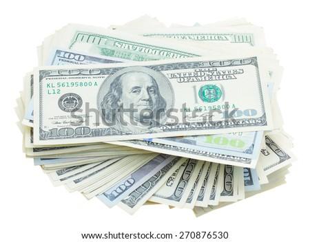 piles of 100  bils dollar  isolated on white background - stock photo