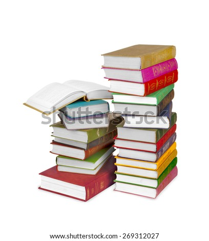 Piles of books isolated on white background