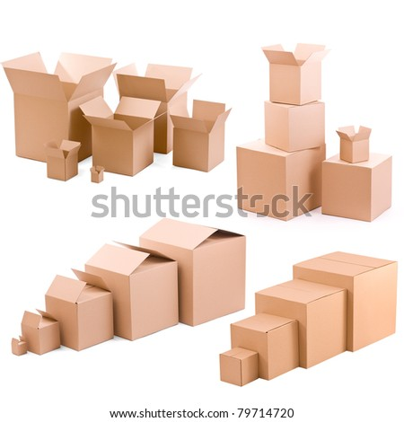 piles of cardboard boxes collection on a white background - stock photo