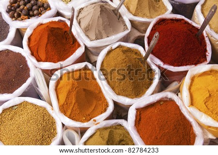 Piles of colorful spices, Anjuna market - stock photo