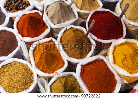 Piles of colourful spices, Anjuna market - stock photo