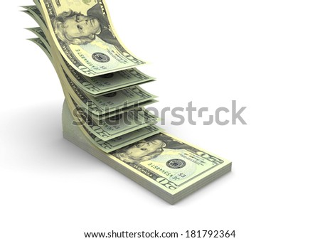 piles of 3D American dollars falling and stacking in top of each other isolated on white background - stock photo