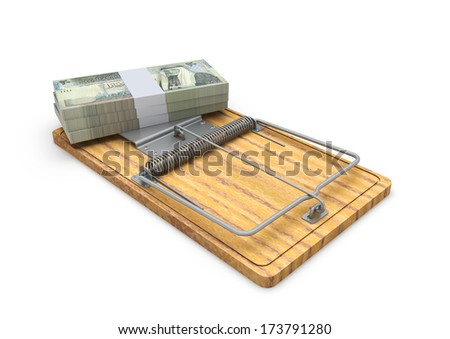 Piles of 3d Jordanian Money on mousetrap isolated on white background