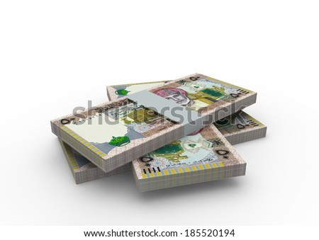 Piles of 3D Omani money isolated on white background - stock photo