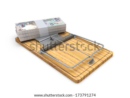 Piles of 3d Qatari Money on mousetrap isolated on white background